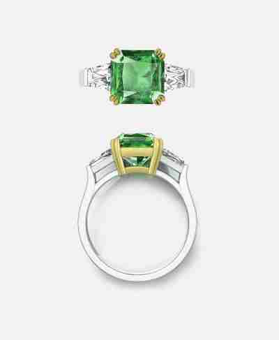 Mortinal Setting, Emerald Engagement Ring