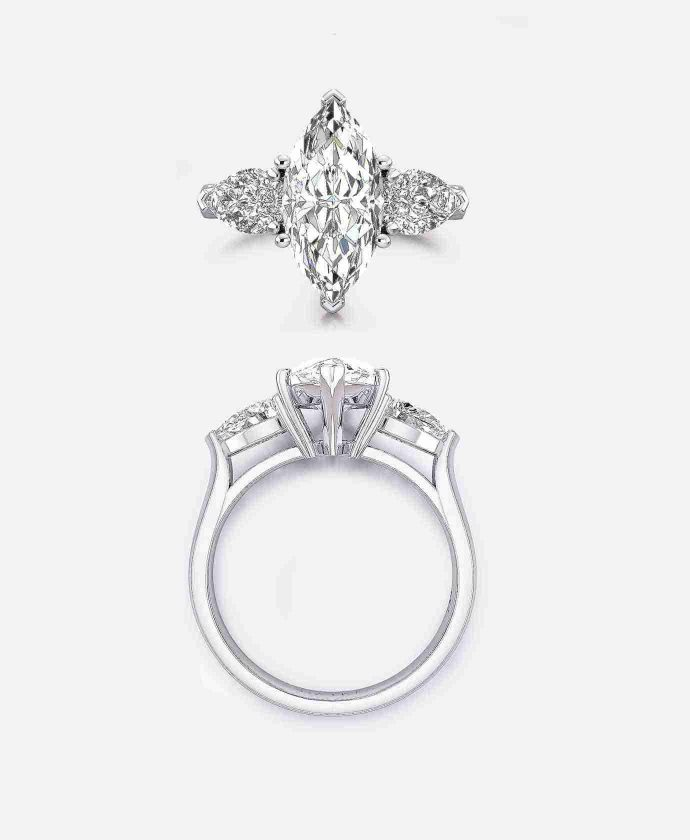 Castel Setting, Marquise Three Stone Engagement Ring