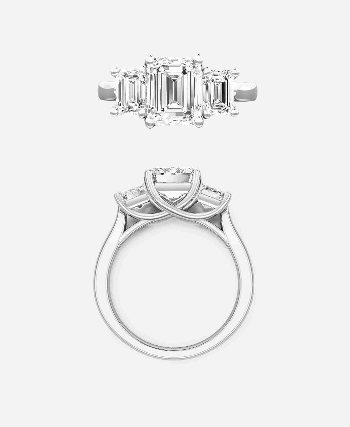 Arcetri Setting, Emerald Cut Three Stone Engagement Ring