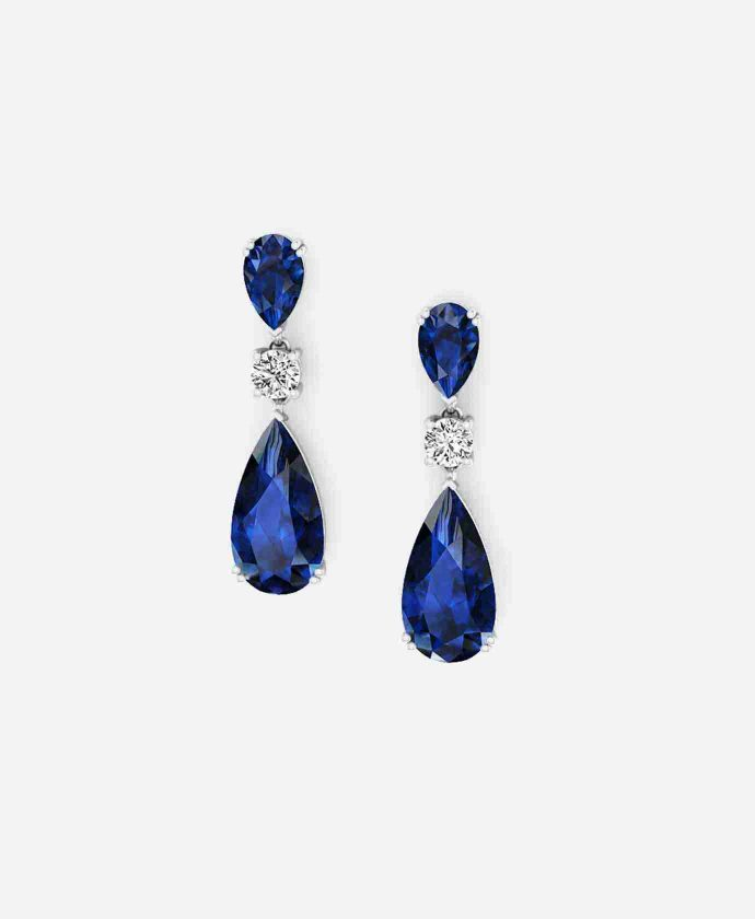 Sapphire Drop Earrings featuring pears and round brilliant diamonds