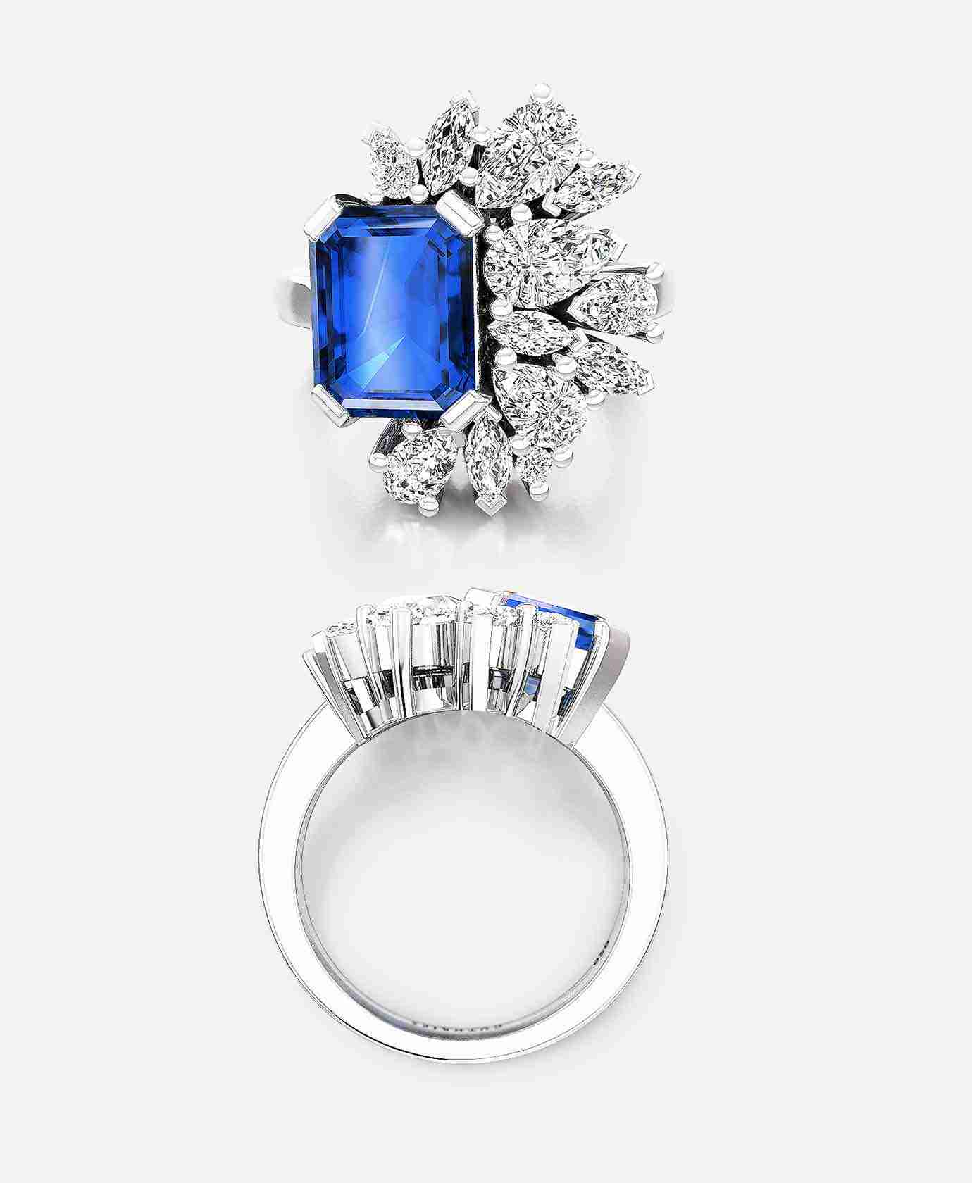 Emerald Cut Sapphire and Diamond Cocktail Ring
