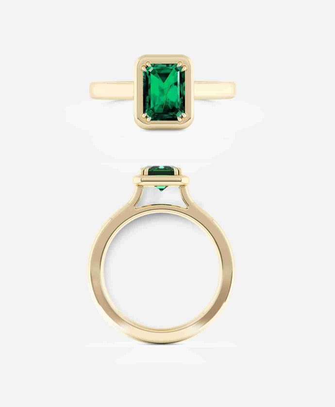 Emerald Cut Emerald Engagement Ring